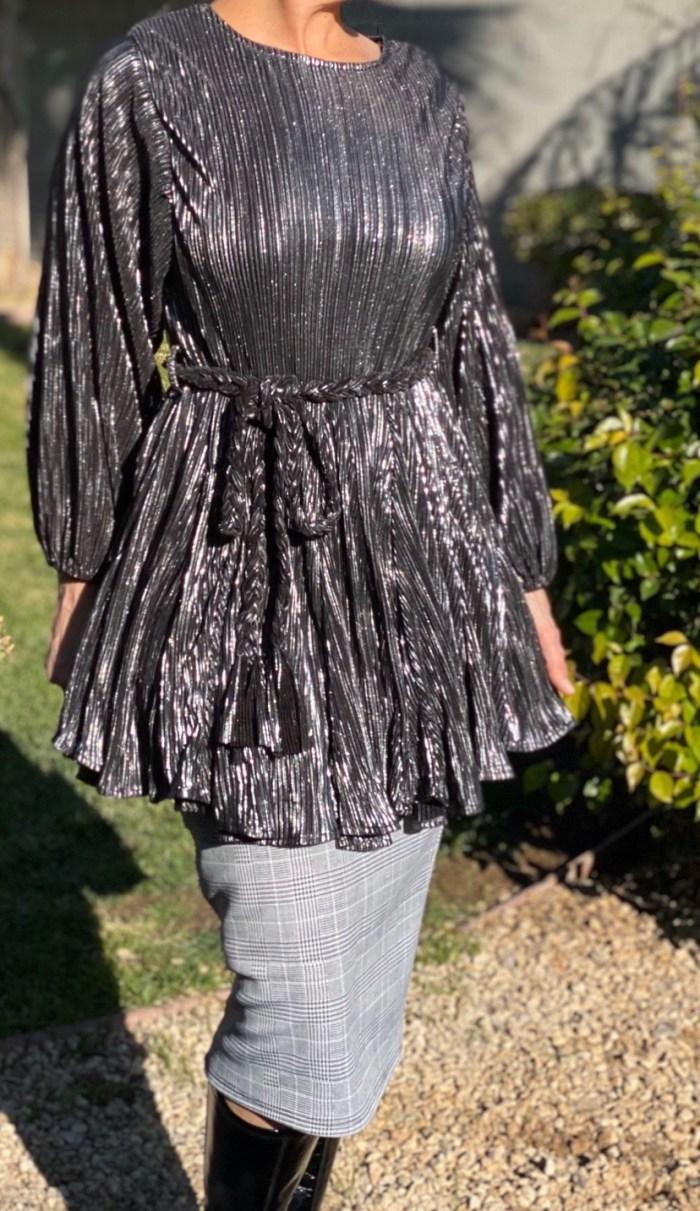 Metallic tunic dress with belt