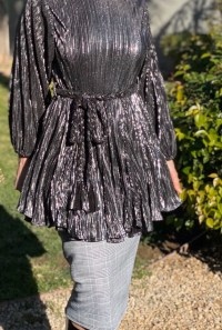 Metallic tunic dress with belt