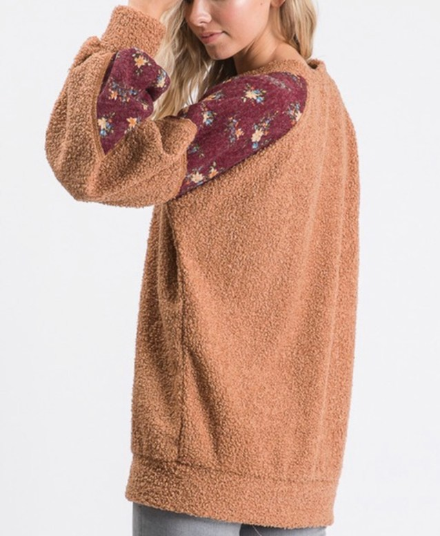Sherpa Teddy Floral Sweater Rust