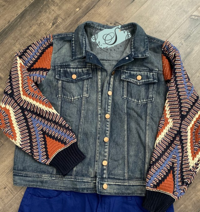 Plus Size Denim Jacket with Tribal Sweater Sleeves