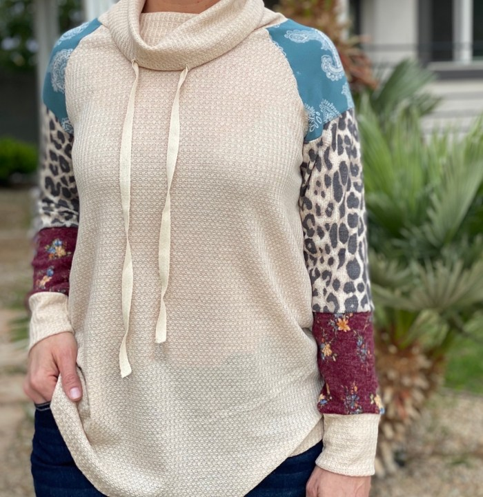 Cowl Neck Thermal Patchwork Top