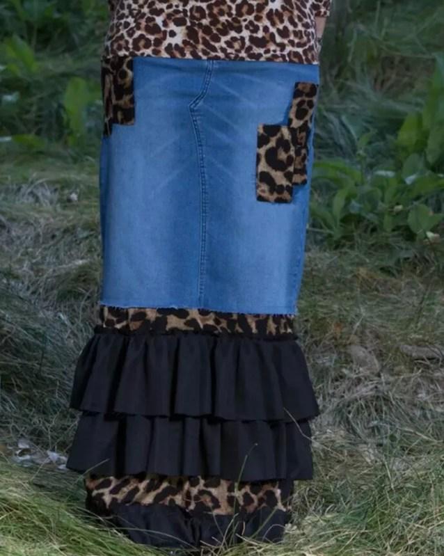 Leopard Denim Ruffle Patchwork Skirt