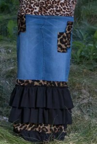 Leopard Denim Ruffle Patchwork Skirt