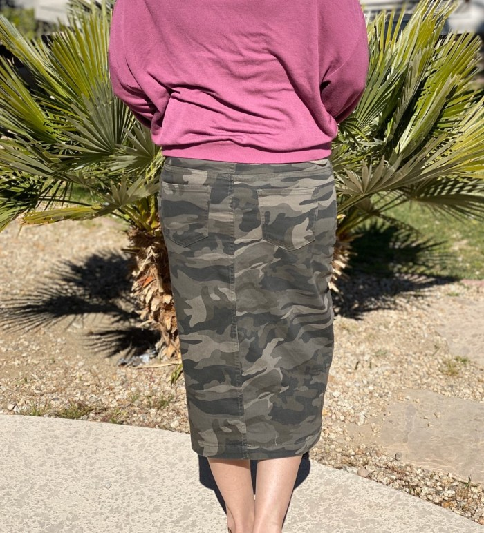 Camo Stretch Twill Skirt