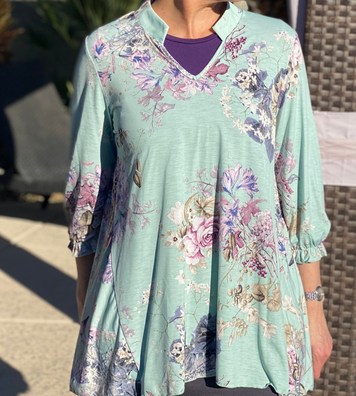 Mint Lavender Floral Hi Low Tunic