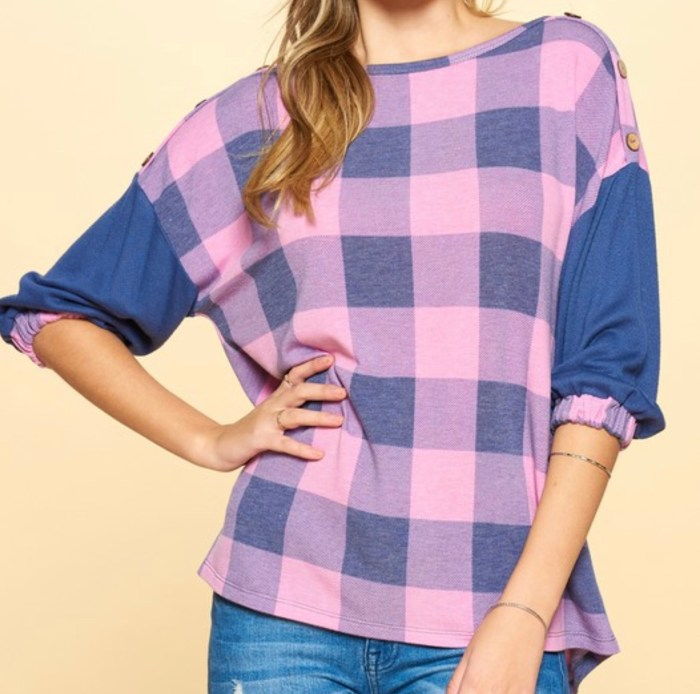 Purple Check Print 3/4 Sleeve Top