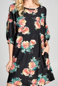 Black floral pocket tunic
