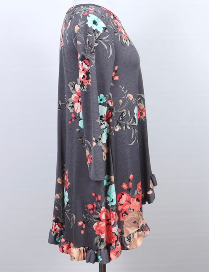 Floral Hi Low Ruffle Tunic