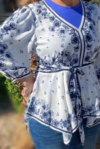 Blue tie peplum tunic