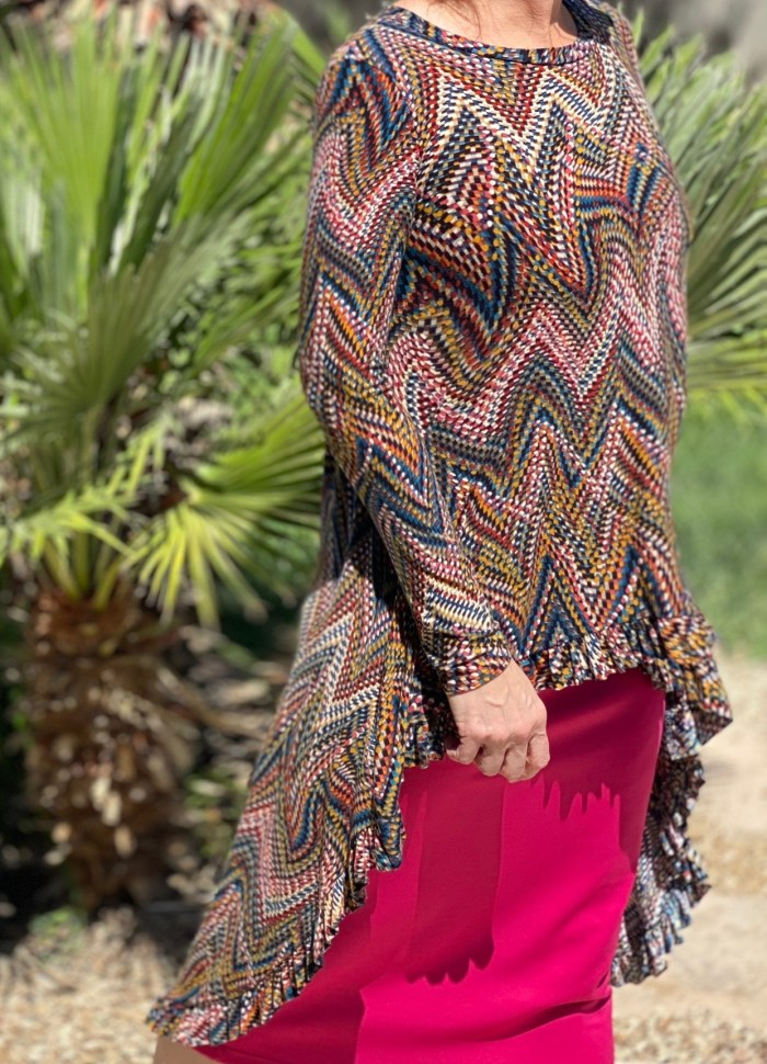 Fall Chevron Hi Low Ruffle Tunic