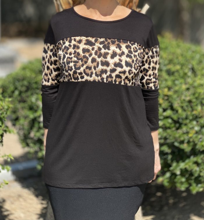 Basic Leopard Contrast Tee