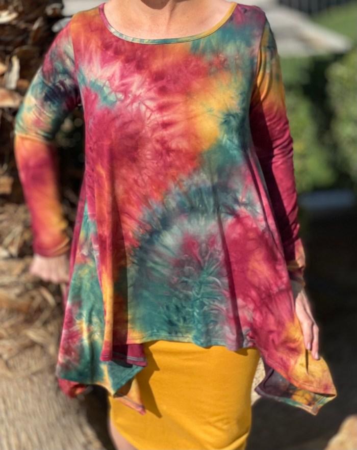 Fall Tie Dye Asymmetrical Tunic