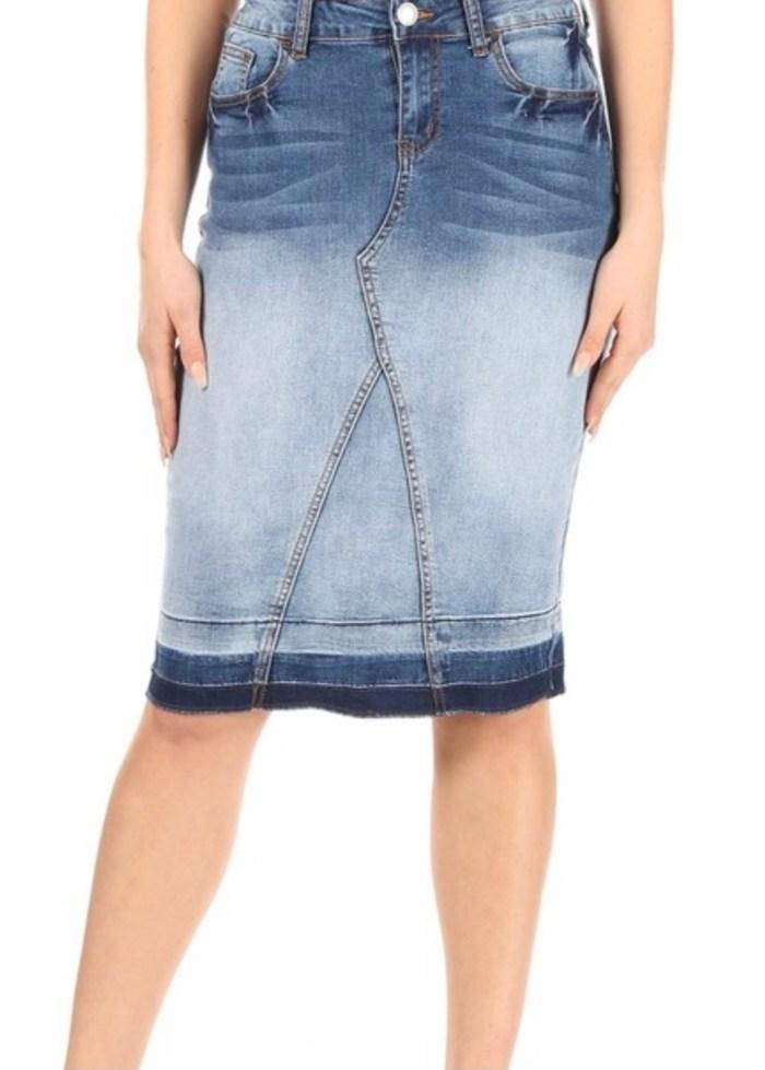 Blue blush stretch twill skirt