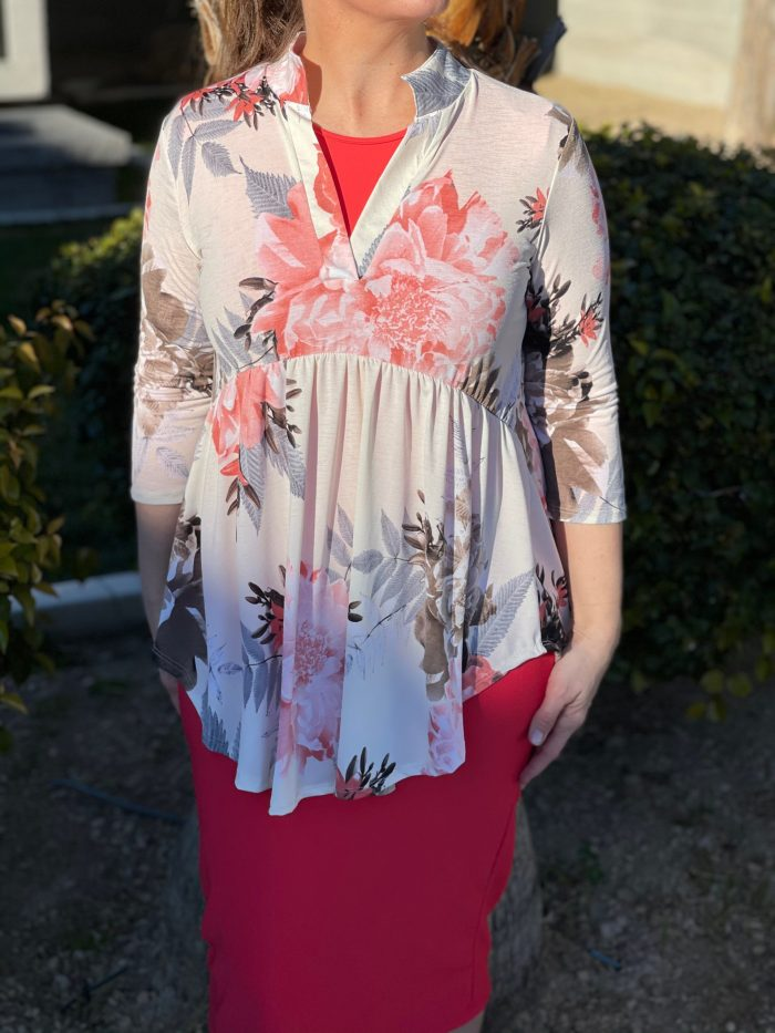 peach floral hi low tunic