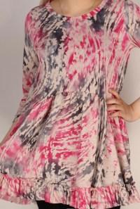 pink swirl hi low tunic