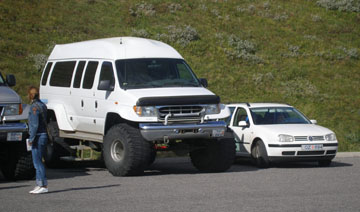 A proper Icelandic expedition vehicle, fit for the interior, and a rental car.... see if you can guess which is which.