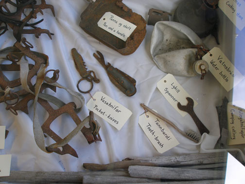 This camping and climbing equipment was found on Skaftafellsjökull in July 2006. It belonged to two British undergraduate students, Ian Harrison and Tony Prosser from the University of Nottingham, England. The students were participating in scientific fieldwork in the summer of 1953 on Morsárjökull, a valley glacier in Skaftafell National Park. They intended to hike up to Oræfajökull after they had made scientific observations at a camp north of Ragnarstindur. They never returned.
