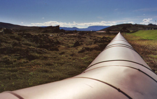 This is one of the steam pipes leading into Krafla. A large portion of Icelandic homes and greenhouses use hot springs and other naturally occuring heat sources in the winter. With 97% of the country's energy coming from hydroelectric and geothermal sources, Iceland has some of the lowest levels of air pollution in the world. (The tradeoff is that you have to accept the risk of the occasional catastrophic volcanic eruption.)