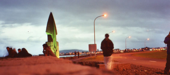 A sculpture on the coast of Reykjavík at night
