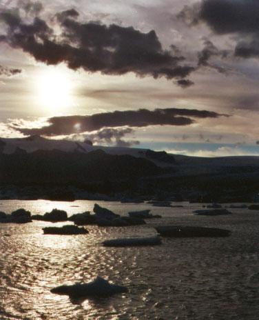 The iceberg lake as the sun sets...