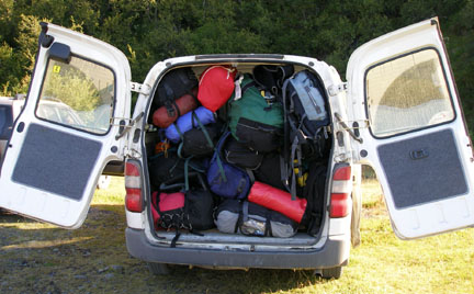 Speaking of baggage, this is how we traveled around the country most of the time- push, pull, cram, stuff, and shove, and then try to fit the people in on top.