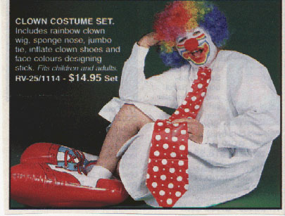 Anyone else disturbed by the fact that this clown appears to be wearing no pants?  Is he squatting on a zany little clown toilet?