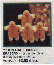 If you find the soulless stares and gaping, blood-colored mouths  of these tiny gingerbread men unsettling, simply rub their little heads on paper  until they're nothing more than discolored stumps. But be prepared to sleep  with one eye open thereafter... 144 gingerbread men is close to an army.