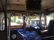 All the public buses were decorated on the inside. It seemed like a contest.