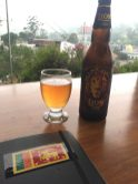 Beer and note-scribbling, right before the sky opened up and poured rain