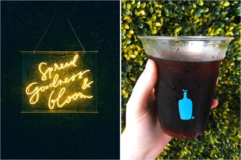 blue bottle coffee, cold brew la arts district, spread goodness & bloom, positive quotes, yellow neon signs, yellow conference, yellow conference 2017
