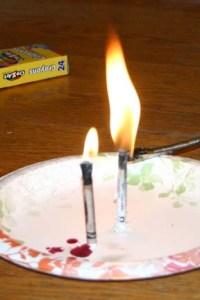 Burning crayons like a candle