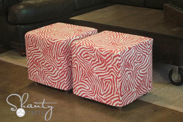 DIY Cube Ottoman Slipcover - Shanty 2 Chic
