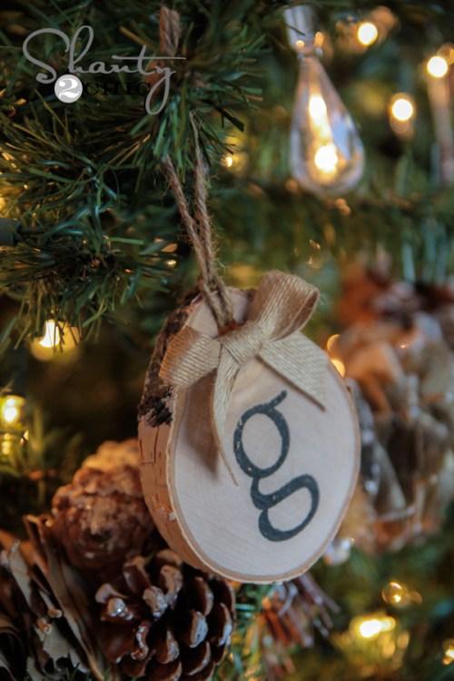 Birch Initial Ornament