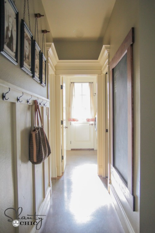 Hallway Chalkboard and Hooks