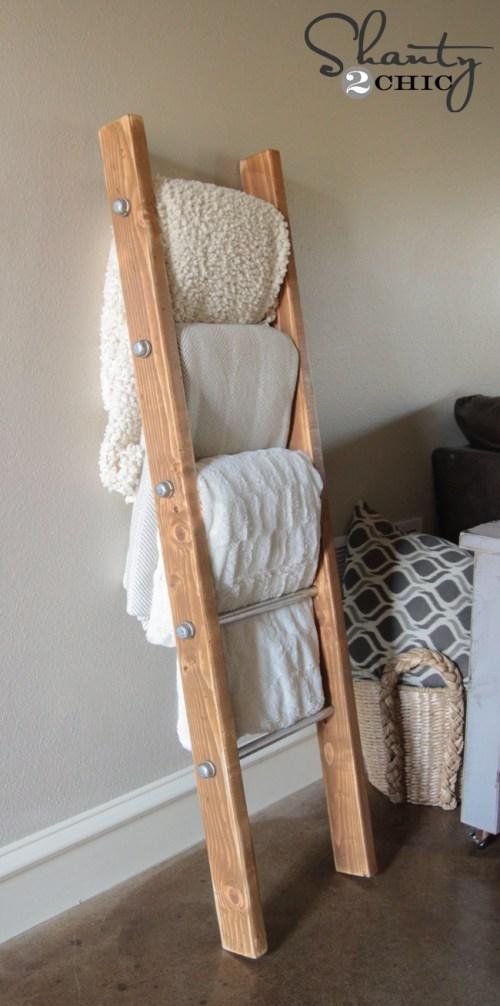 Wood and Metal Pipe Blanket Ladder