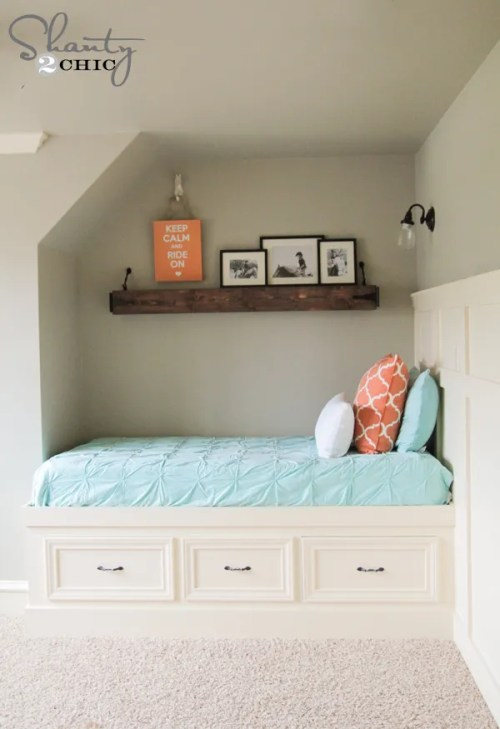 Free Plans DIY Built-In Twin Bed