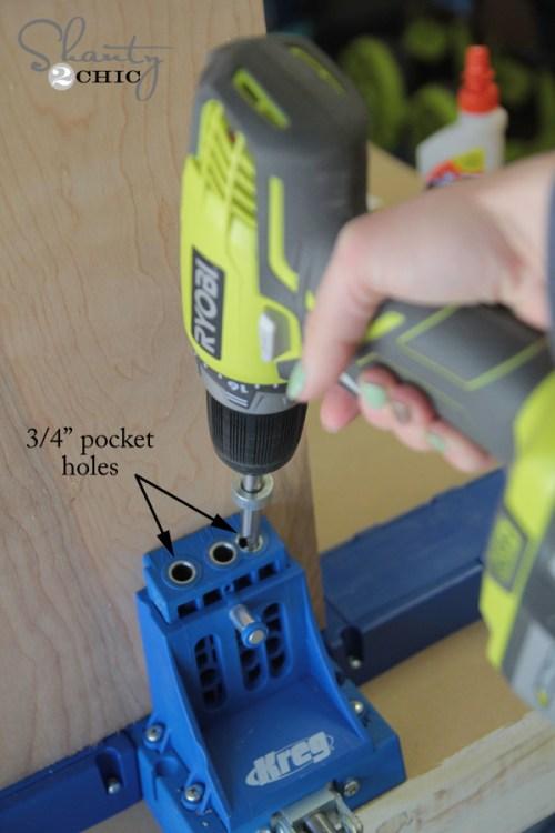 adding pocket holes for media console