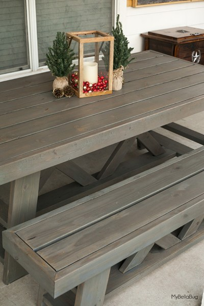 diy outdoor patio table DIY Outdoor Patio Table & Benches - Shanty 2 Chic