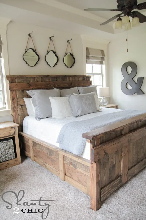 DIY King Size Bed Free Plans by Shanty2Chic