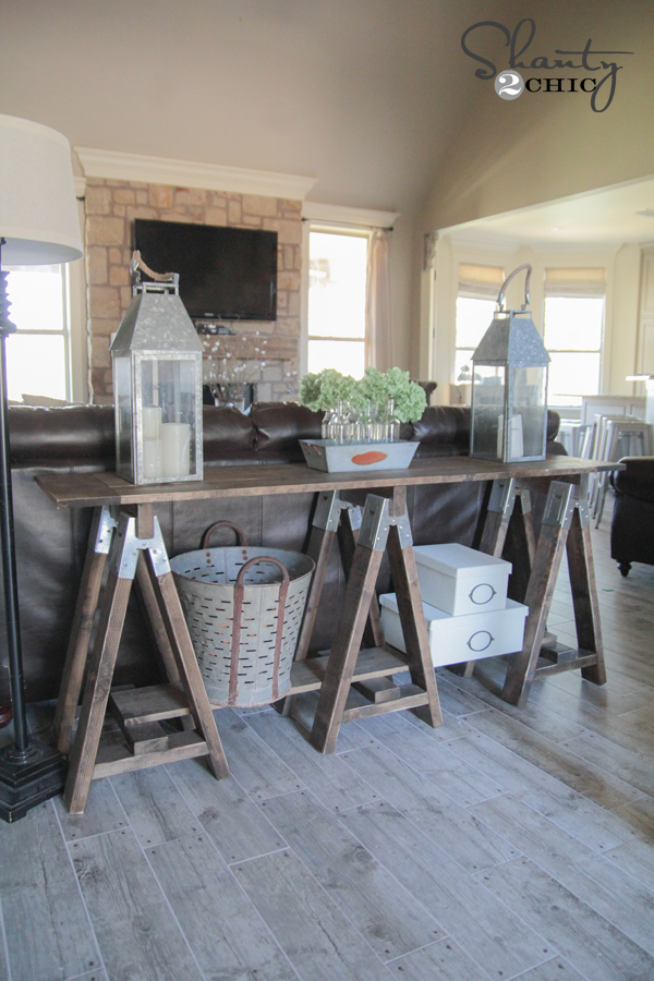 DIY Sawhorse Console Table by Shanty2Chic