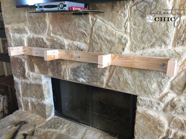 Hang A Mantel On Stone Fireplace, Floating Mantel On Uneven Stone Fireplace