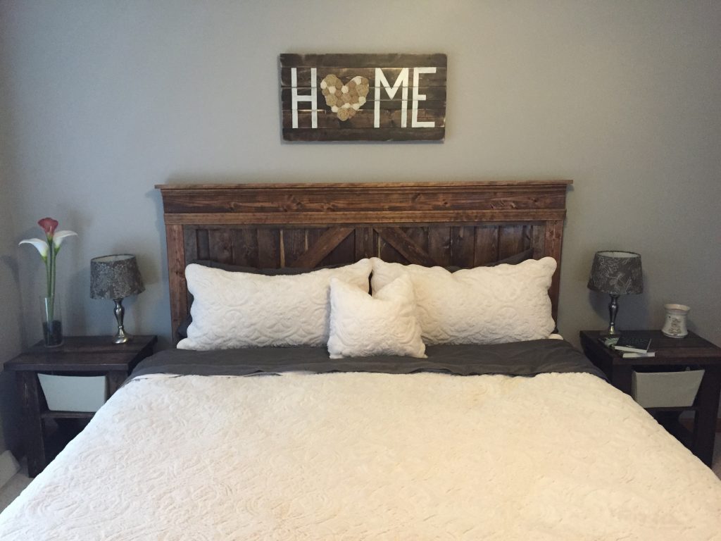 New Bedroom Farmhouse Bed HOME Sign Bedside Tables