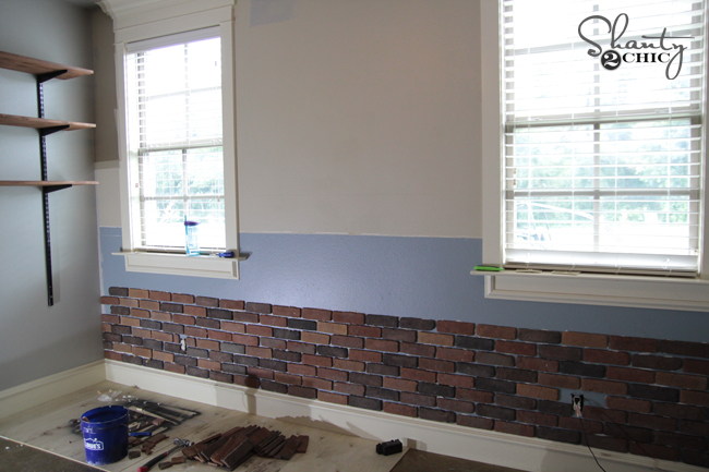 DIY Brick Wall Progress