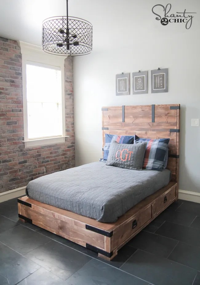 DIY Queen Size Bed by Shanty2Chic