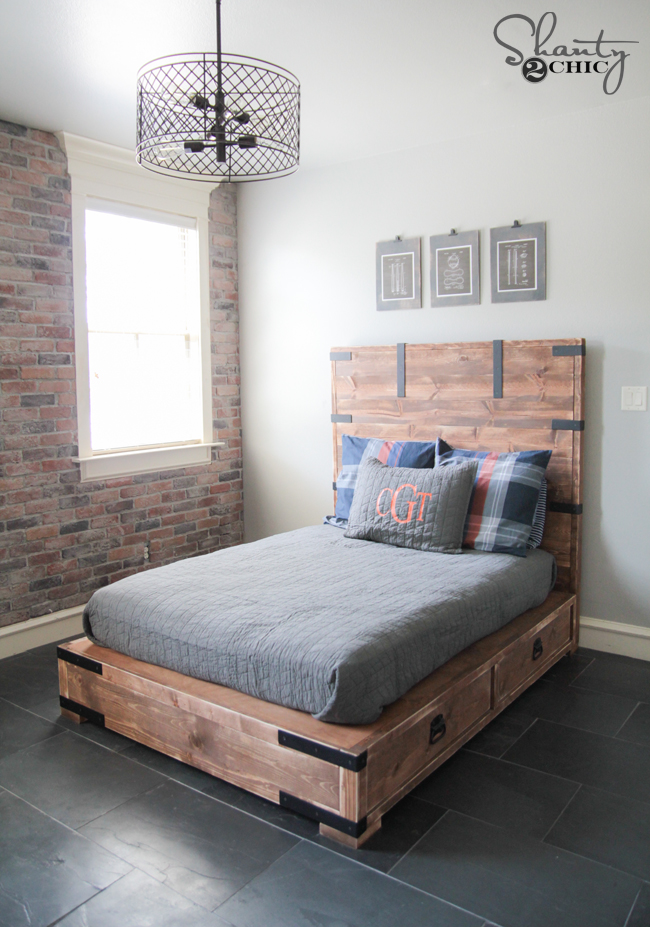 Full Size Bed Frame.Diy Full Or Queen Size Storage Bed Shanty 2 Chic