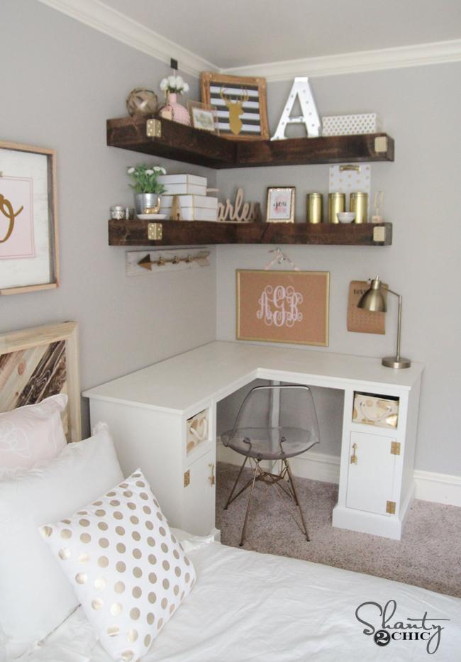 DIY Floating Corner Shelves by Shanty2Chic