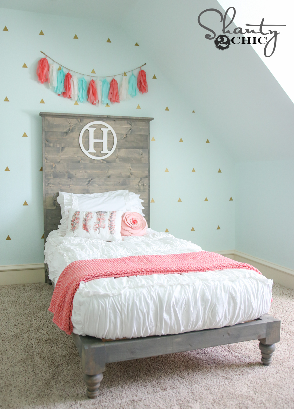 Best Kitchen Gallery: Diy Twin Platform Bed And Headboard Shanty 2 Chic of Bedroom Headboards Designs  on rachelxblog.com