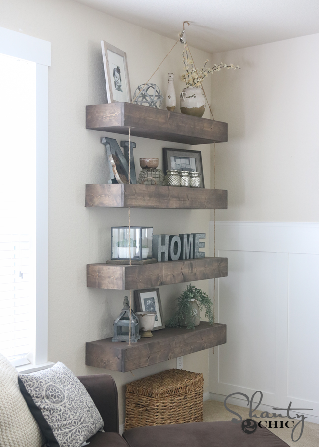 DIY Floating Shelves with Pulleys