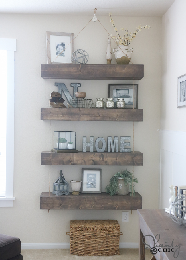 DIY Rope and Pulley Floating Shelves