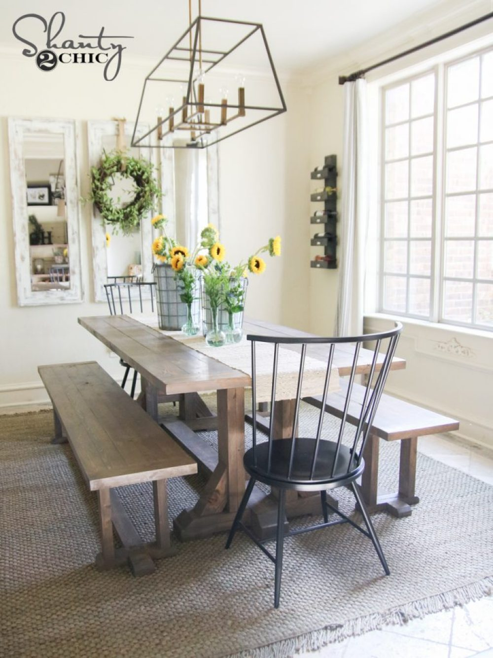 Free Furniture Plans DIY Farmhouse Dining Table by Shanty2Chic